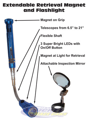 Extendable Retrieval Magnet and Flashlight